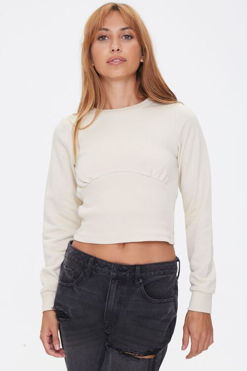 Shirred French Terry Top, image 1