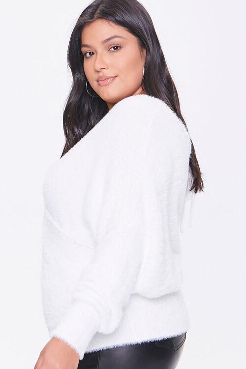 Plus Size Fuzzy Surplice Sweater, image 2