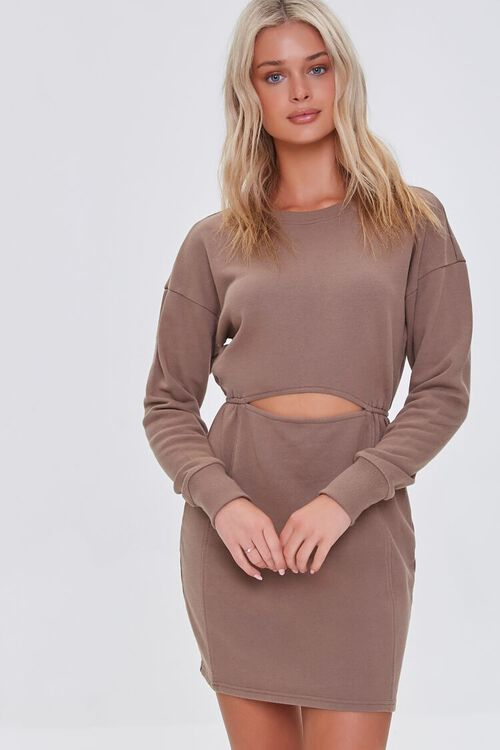 BROWN French Terry Cutout Mini Dress, image 1