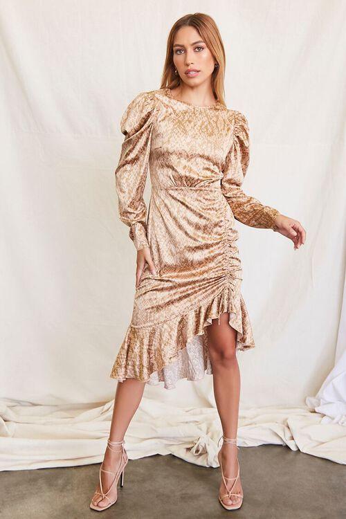 TAUPE/BROWN Satin Snake Print Dress, image 4