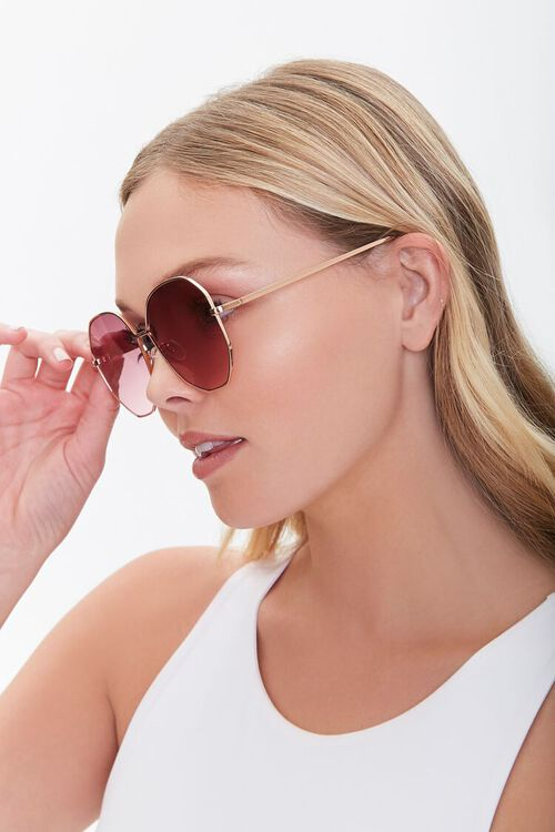 Oversized Round Metal Sunglasses, image 1