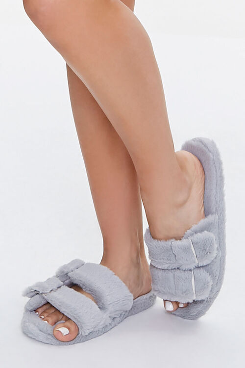 Faux Fur Dual-Strap Slippers, image 1