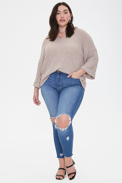 Plus Size Ribbed Marled Knit Top, image 4