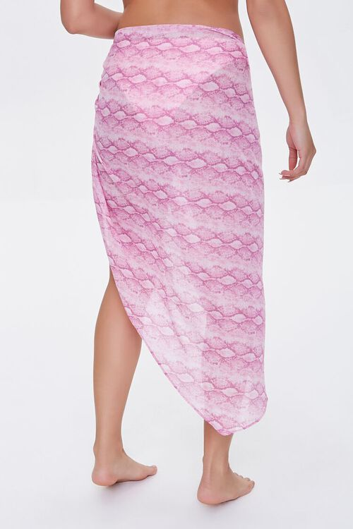 PINK/MULTI Snake Print Swim Cover-Up Sarong, image 4