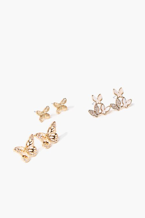 Butterfly Charm Stud Earring Set, image 1