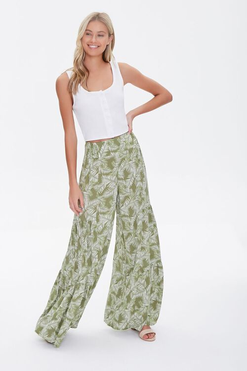 Leaf Print Wide-Leg Pants, image 1