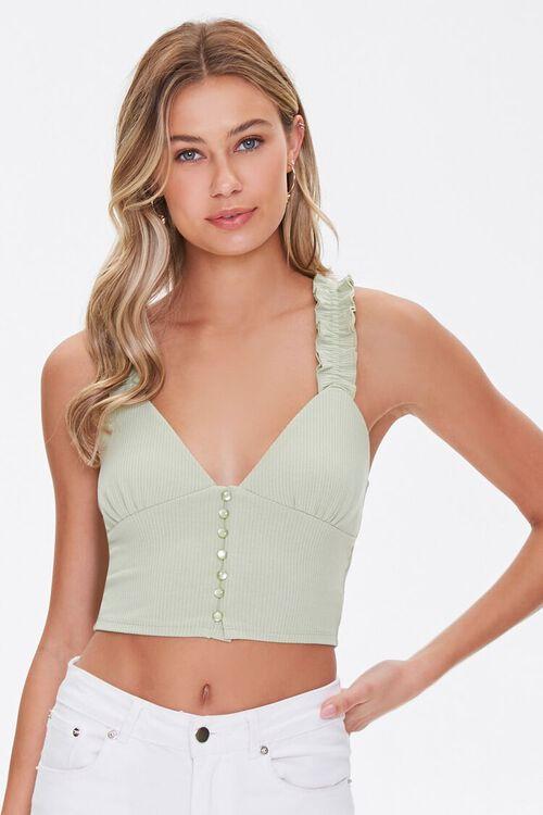 Buttoned Bustier Crop Top, image 1