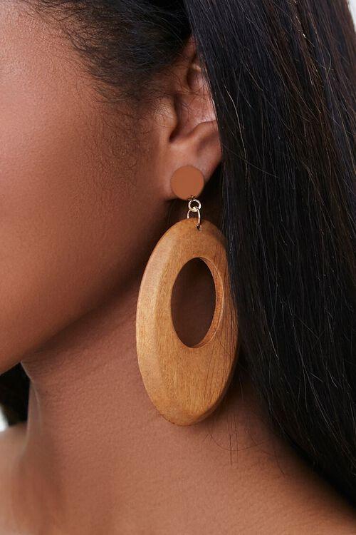 BROWN Wooden Pendant Drop Earrings, image 1