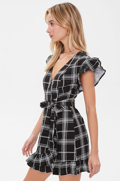 Grid Print Mock Wrap Dress, image 2