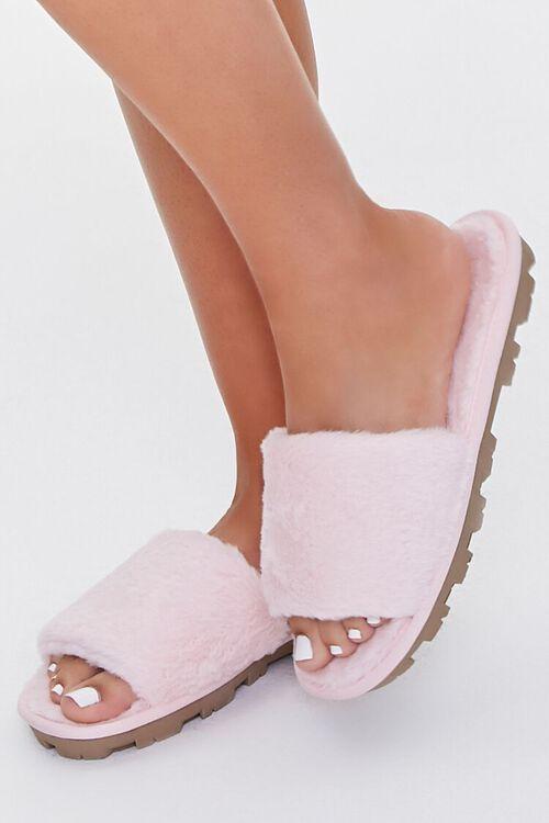 Faux Fur Lug Sole Slippers, image 1
