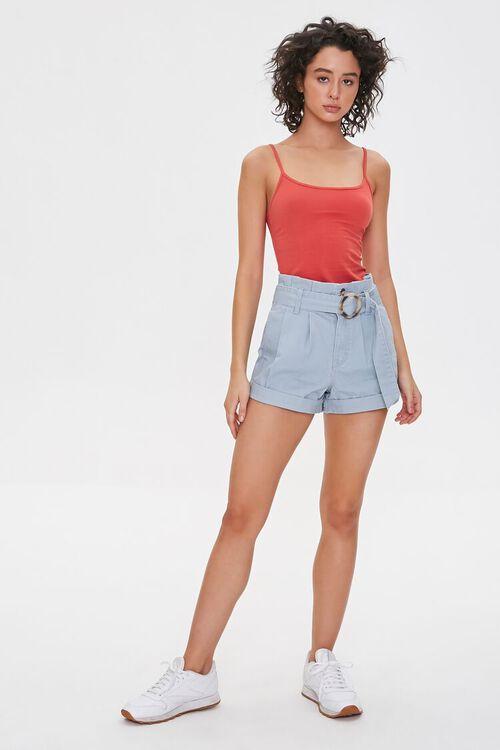 Belted Paperbag Denim Shorts, image 5