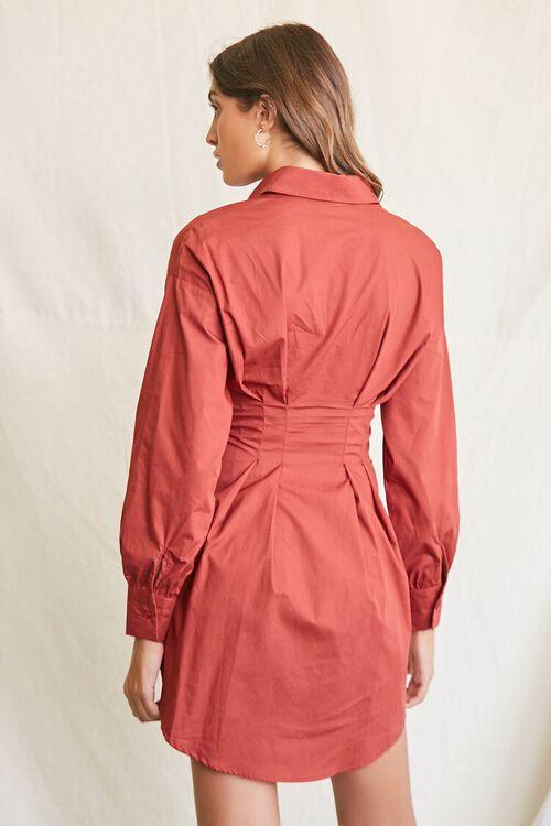 BROWN Lace-Up Shirt Dress, image 3