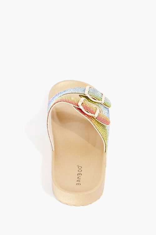 GOLD/MULTI Rainbow Rhinestone Sandals, image 2