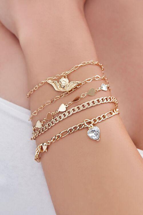 GOLD Heart Charm Bracelet Set, image 1