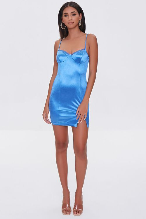 BLUE Satin Bodycon Mini Dress, image 4