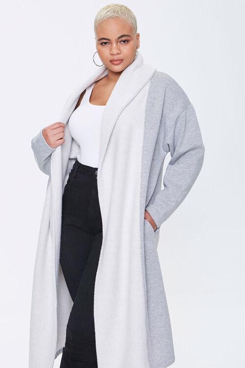 Plus Size Colorblock Longline Coat, image 1