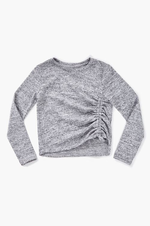 Girls Ruched Long Sleeve Top (Kids), image 1
