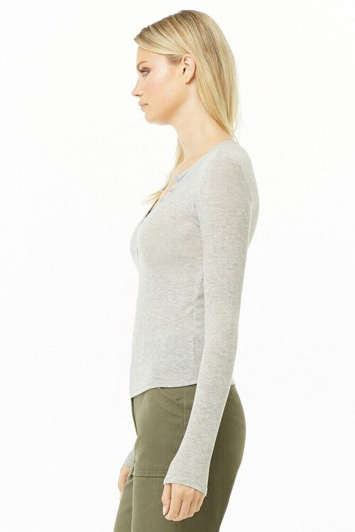 Ribbed Knit Henley Top, image 2
