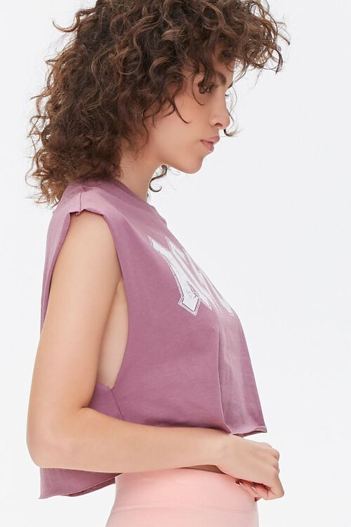 MAUVE/MULTI AC/DC Graphic Cropped Muscle Tee, image 2