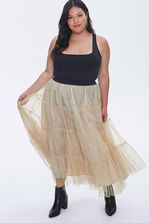 Plus Size Ruffle Mesh Maxi Skirt, image 1