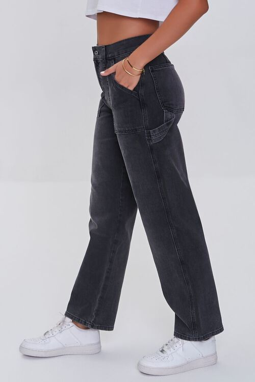 WASHED BLACK High-Rise Cargo Jeans, image 3