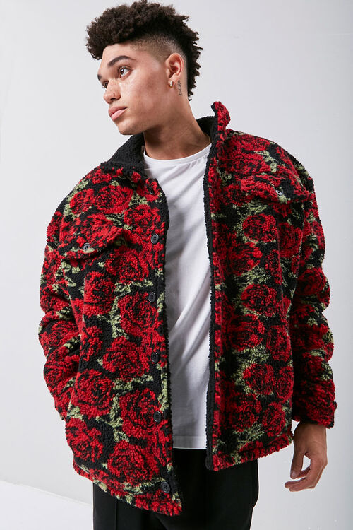 Faux Shearling Rose Print Jacket, image 1