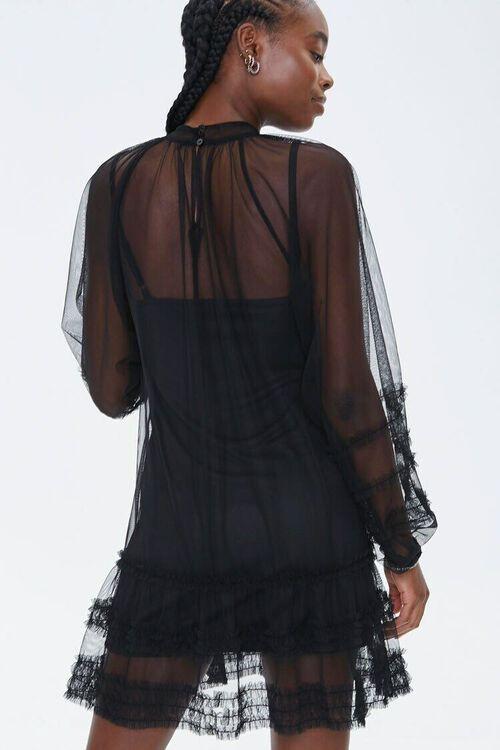 Mesh Ruffle-Trim Mini Dress, image 3