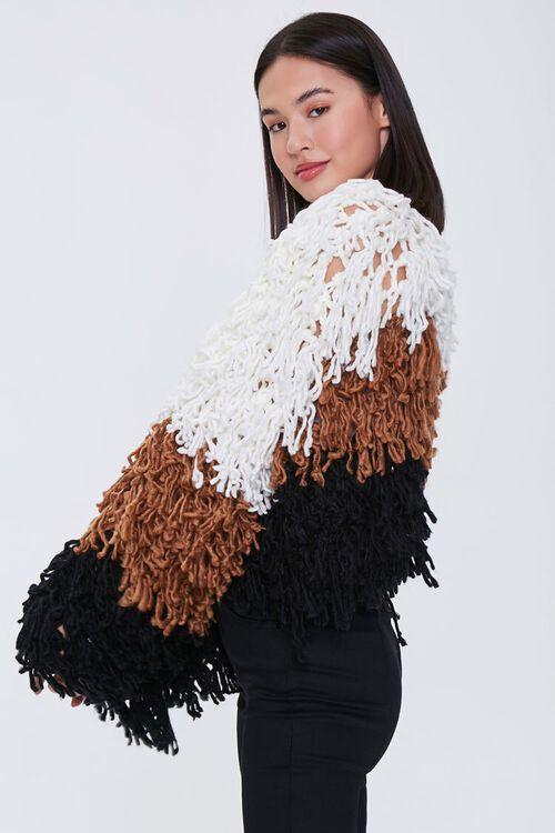 Colorblock Fringe Cardigan Sweater, image 2