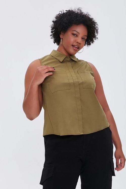 Plus Size Poplin Sleeveless Shirt, image 1