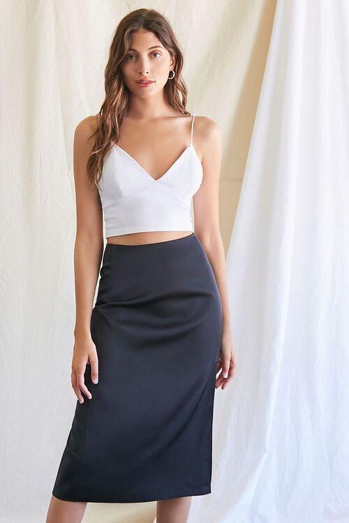 BLACK Knee-Length Slit Skirt, image 1