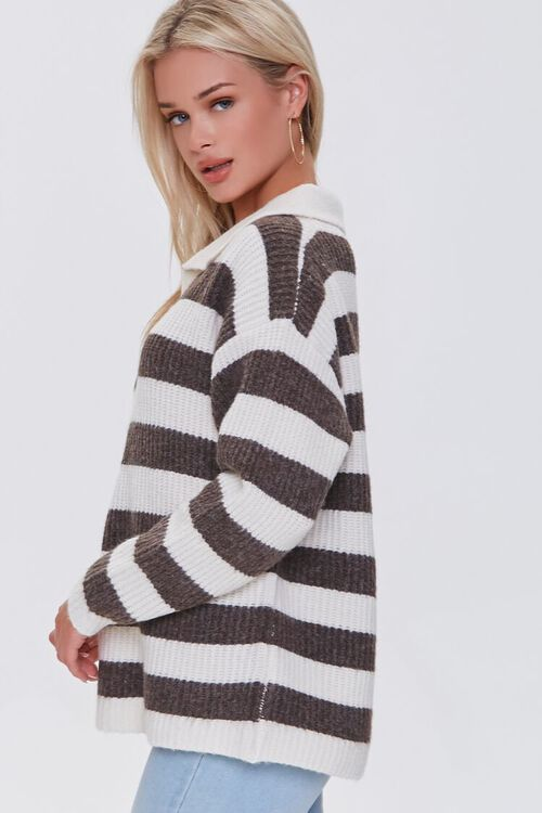 CREAM/BROWN Striped Sweater-Knit Pullover, image 2