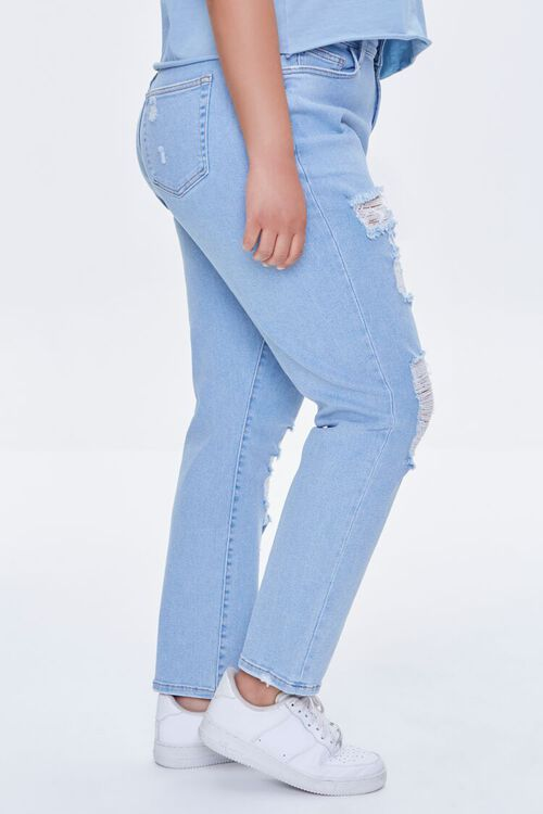 LIGHT DENIM Plus Size Distressed Boyfriend Jeans, image 3