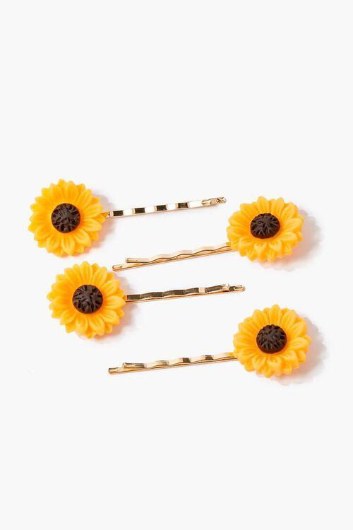 YELLOW/MULTI Sunflower Bobby Pin Set, image 1