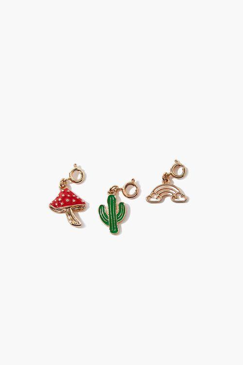 GOLD/RED Mushroom Cactus Charm Set, image 1