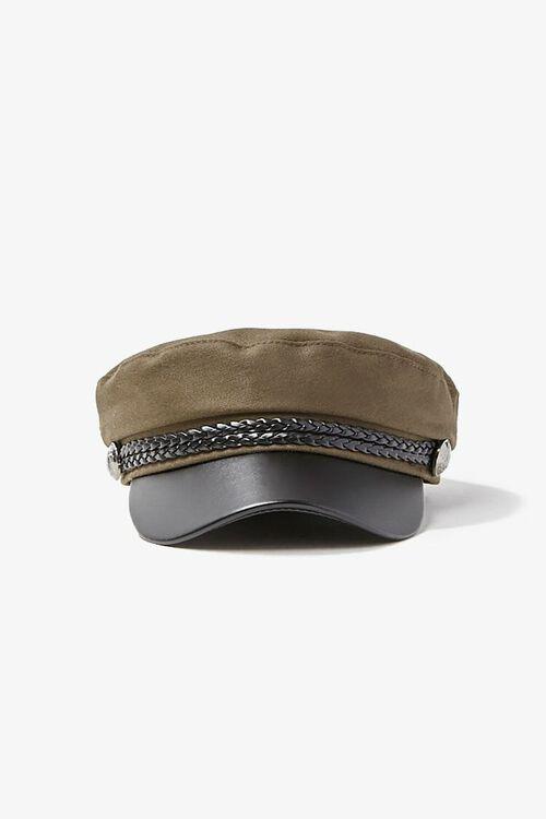 Faux Leather Trim Cabbie Hat, image 1