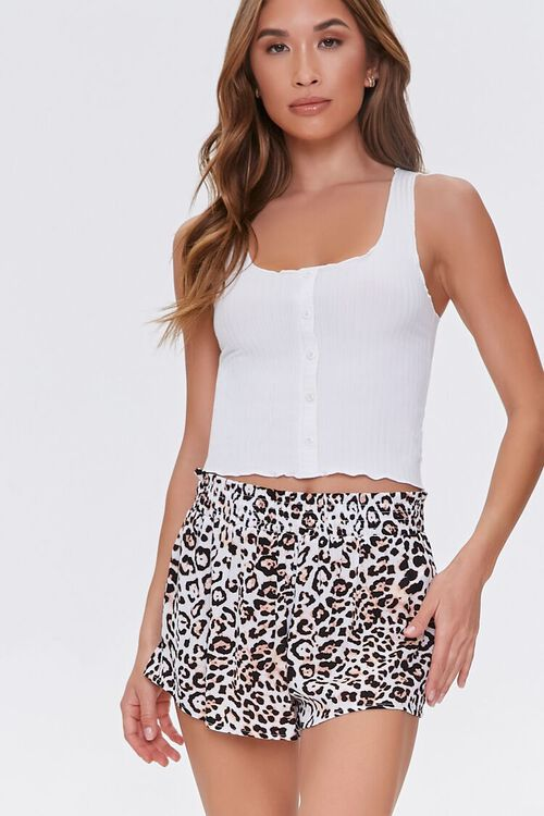 TAN/BLACK Leopard Swim Cover-Up Shorts, image 1