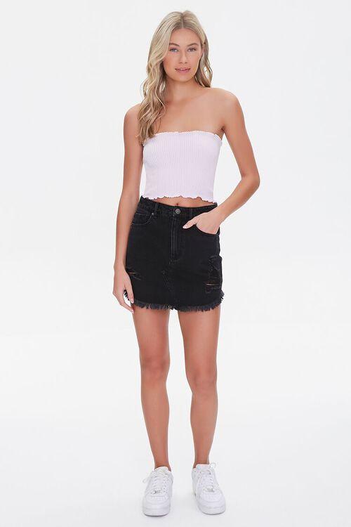 Frayed Denim Mini Skirt, image 5