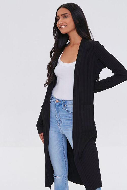 BLACK Longline Cardigan Sweater, image 1