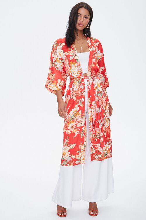 Satin Floral Kimono, image 4