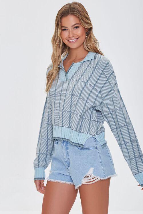 MINT/MULTI Split-Neck Plaid Sweater, image 1