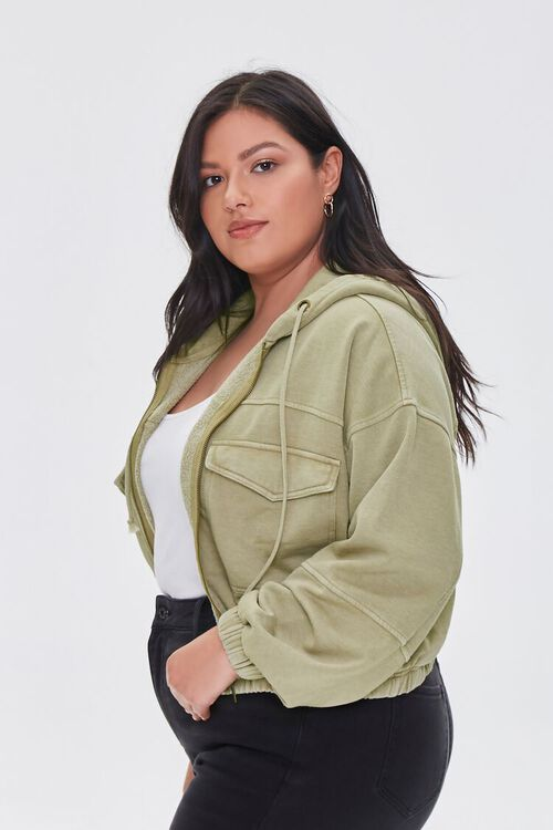 Plus Size Hooded Flap-Pocket Jacket, image 2