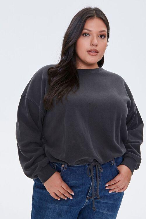 Plus Size Boxy Fleece Sweatshirt, image 1