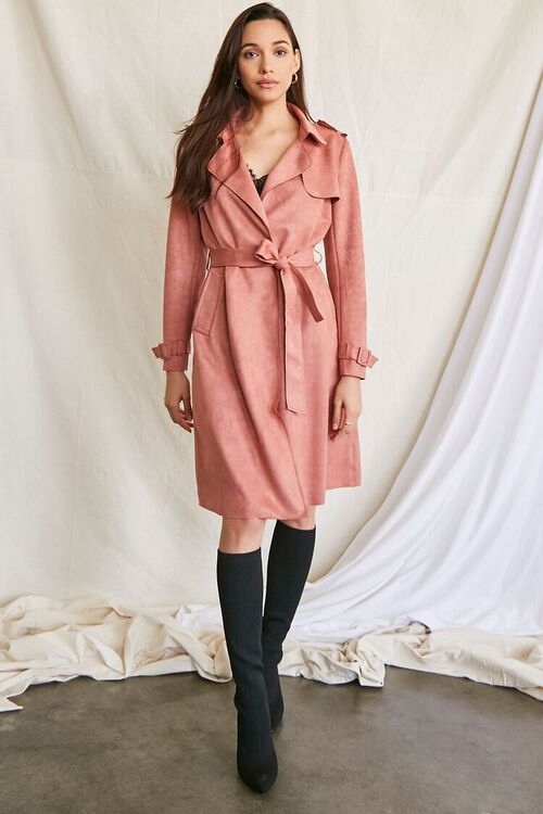 ROSE Faux Suede Duster Trench Jacket, image 4