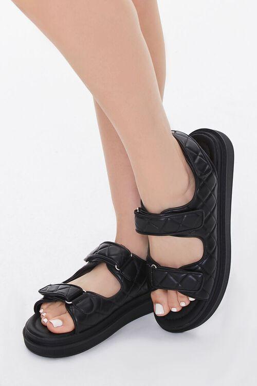 Buckled Quilted Platform Sandals, image 1