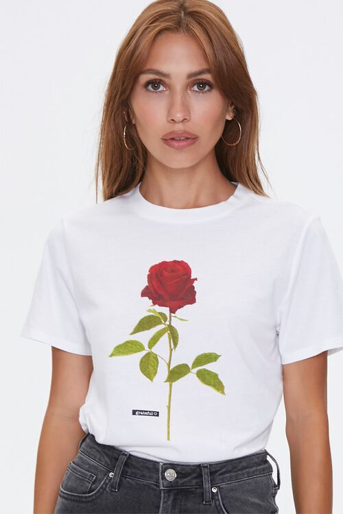 Organic Cotton Rose Graphic Tee, image 1