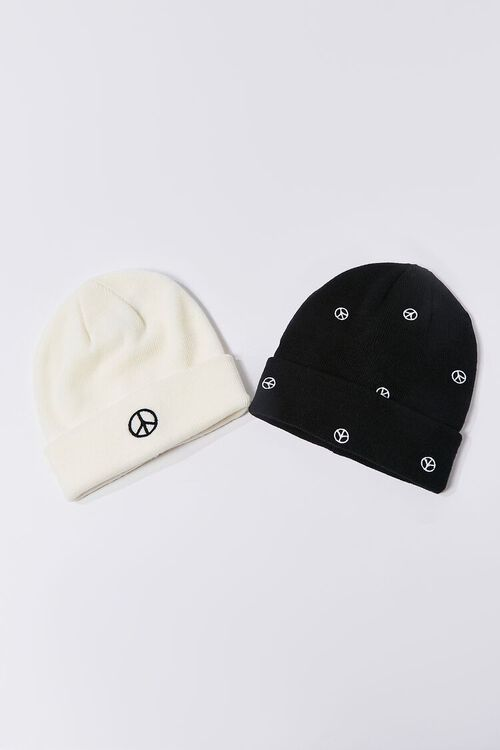 Peace Sign Embroidered Beanie Set, image 1