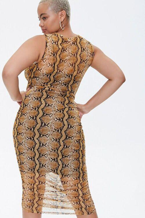 MUSTARD/MULTI Plus Size Snake Print Dress, image 3