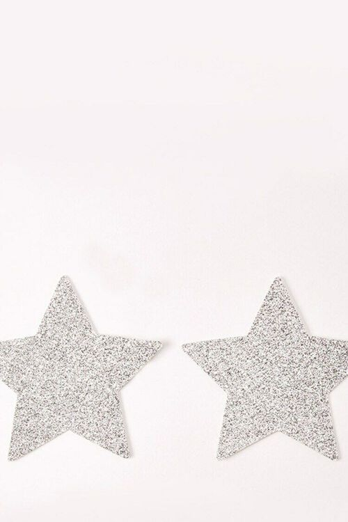 SILVER Silver Pixie Dust Glitter Starry Nights Nipztix Pasties by Neva Nude, image 1