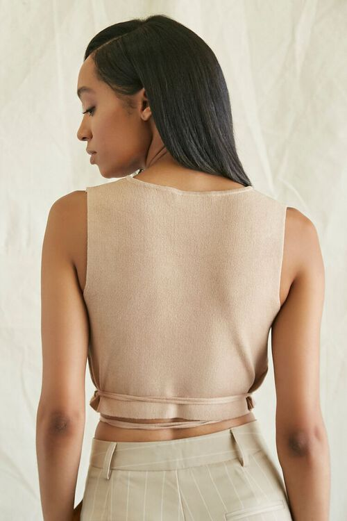 Sweater-Knit Wraparound Crop Top, image 3