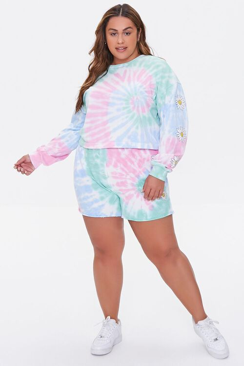 Plus Size Daisy Graphic Tie-Dye Pullover, image 4